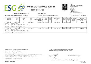 concrete compressive strength report to BS EN 12390 3